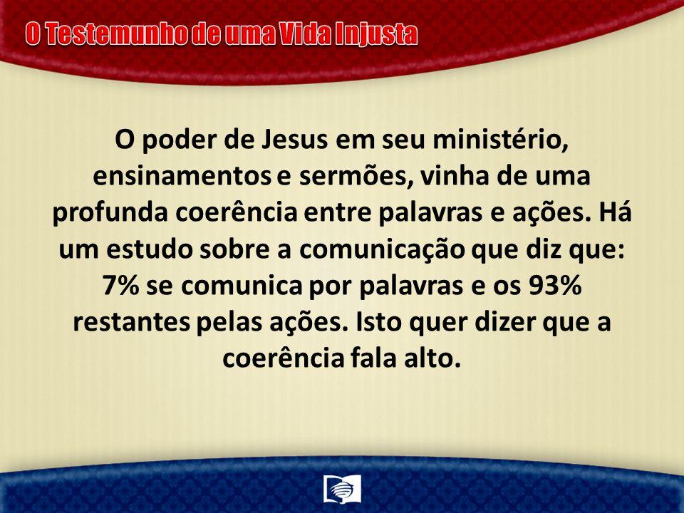 O poder de Jesus em seu ministério, ensinamentos e sermões, vinha de uma profunda coerência entre palavras e ações.