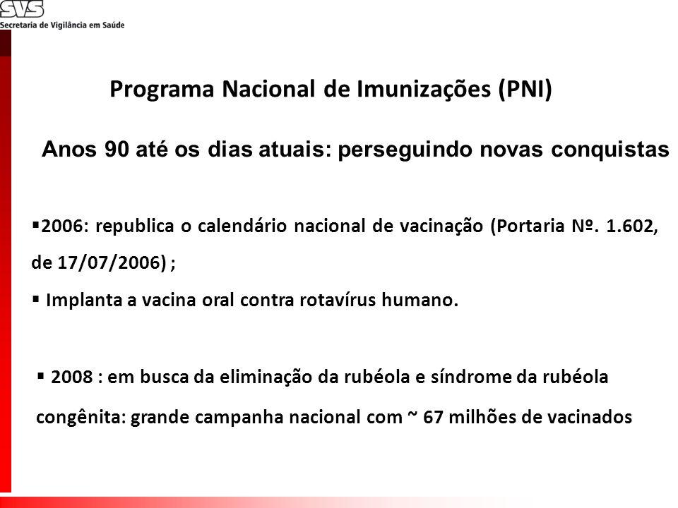 Anos 90 até os dias atuais: perseguindo novas conquistas 2006: republica o calendário nacional de vacinação (Portaria Nº. 1.602, de 17/07/2006) ; Impl