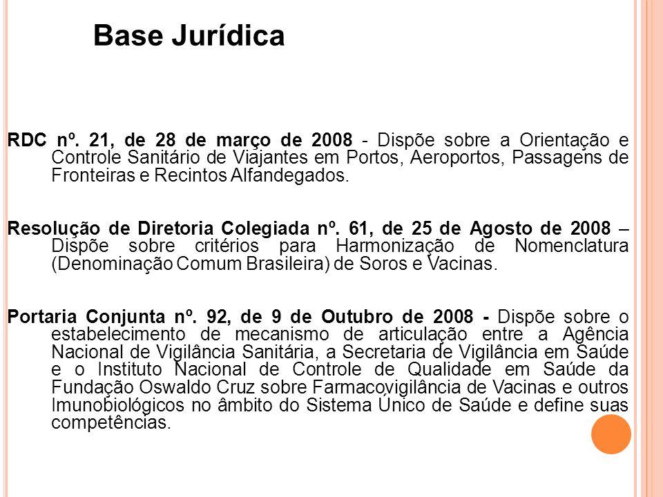 RDC nº. 21, de 28 de março de 2008 - Dispõe sobre a Orientação e Controle Sanitário de Viajantes em Portos, Aeroportos, Passagens de Fronteiras e Reci
