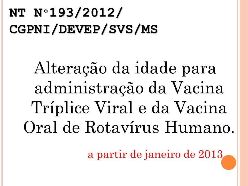 NT N º 193/2012/ CGPNI/DEVEP/SVS/MS Alteração da idade para administração da Vacina Tríplice Viral e da Vacina Oral de Rotavírus Humano. a partir de j