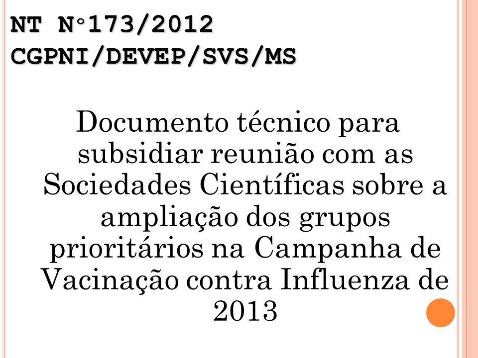 NT N º 173/2012 CGPNI/DEVEP/SVS/MS Documento técnico para subsidiar reunião com as Sociedades Científicas sobre a ampliação dos grupos prioritários na