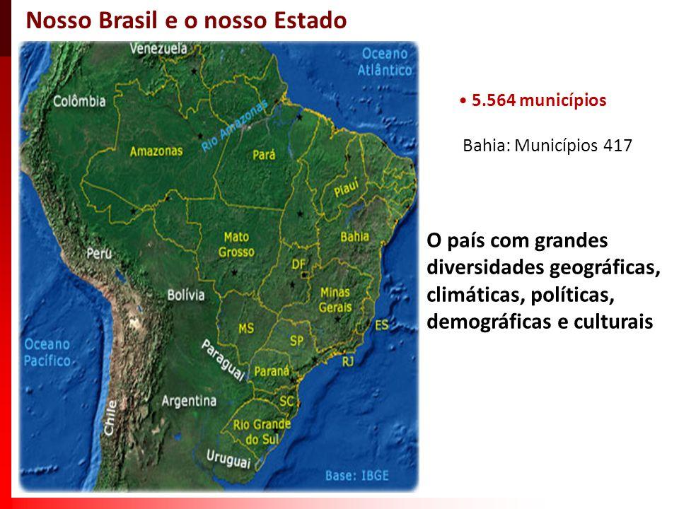 5.564 municípios Bahia: Municípios 417 Nosso Brasil e o nosso Estado O país com grandes diversidades geográficas, climáticas, políticas, demográficas