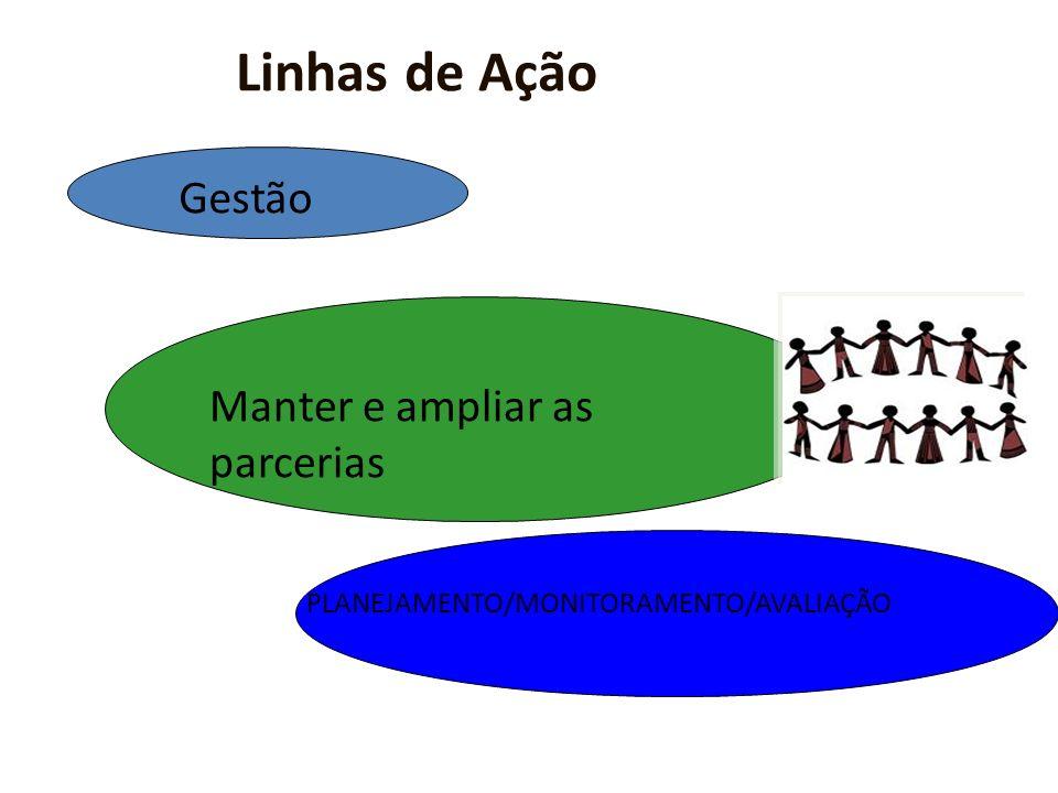 Linhas de Ação Gestão Manter e ampliar as parcerias PLANEJAMENTO/MONITORAMENTO/AVALIAÇÃO