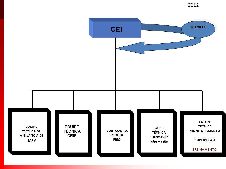 2012 SUB -COORD. REDE DE FRIO EQUIPE TÉCNICA Sistemas de Informação EQUIPE TÉCNICA DE VIGILÂNCIA DE EAPV EQUIPE TÉCNICA MONITORAMENTO SUPERVISÃO TREIN