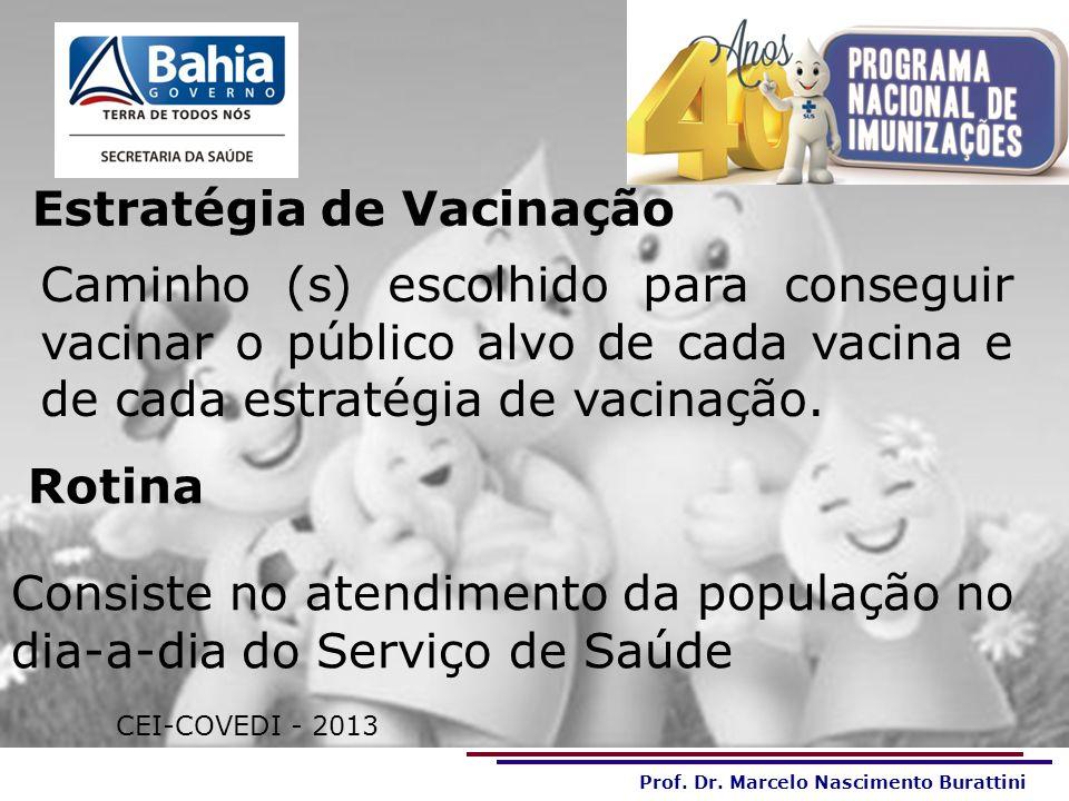 Prof. Dr. Marcelo Nascimento Burattini OBRIGADA PELA ATENÇÃO!!! CEI-COVEDI - 2013 Estratégia de Vacinação Caminho (s) escolhido para conseguir vacinar