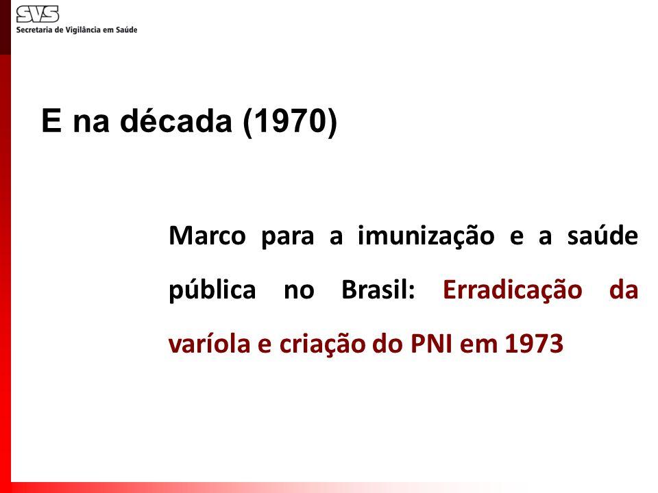 Marco para a imunização e a saúde pública no Brasil: Erradicação da varíola e criação do PNI em 1973 E na década (1970)