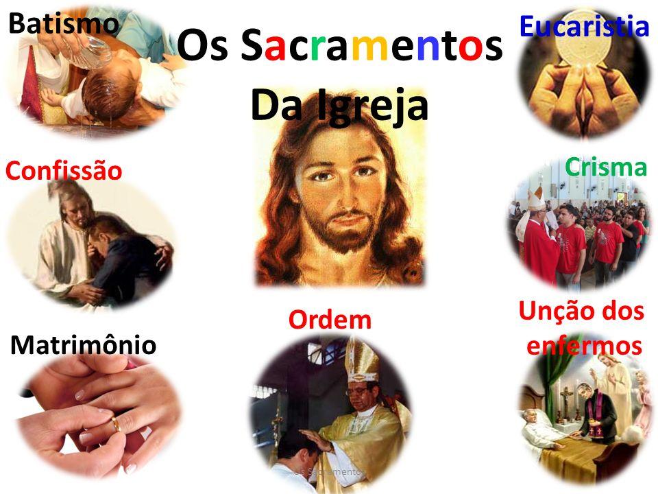 Batismo Matrimônio Confissão Crisma Eucaristia Ordem Unção dos enfermos Os Sacramentos Da Igreja