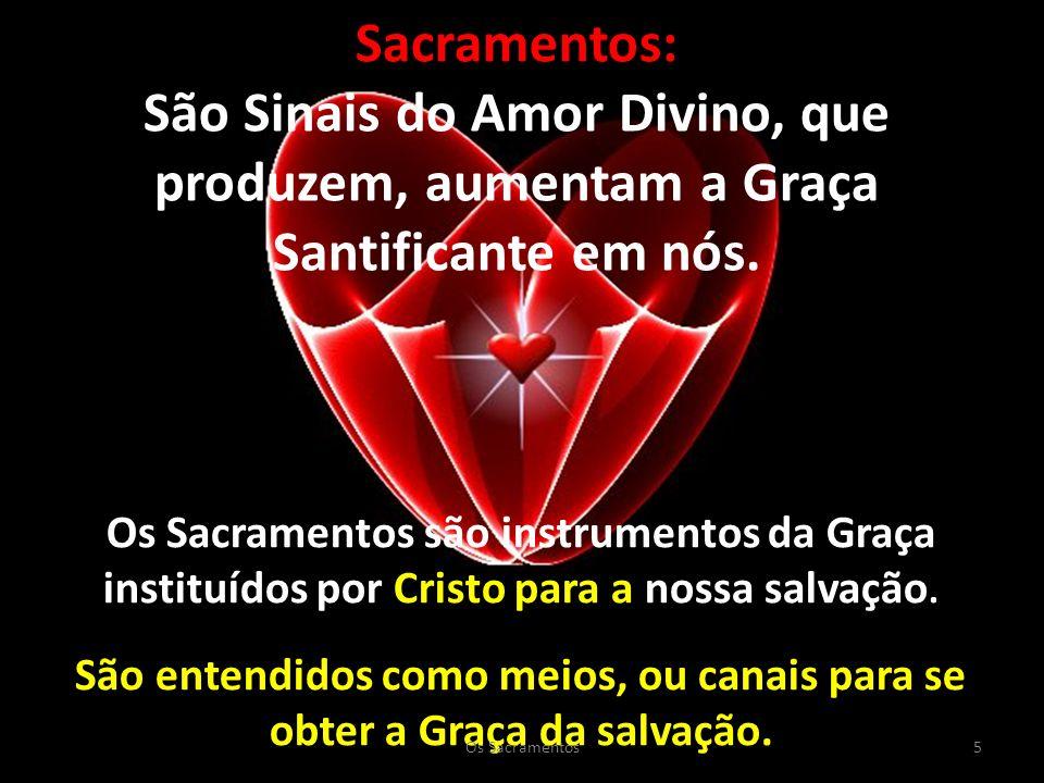 Sacramentos: São Sinais do Amor Divino, que produzem, aumentam a Graça Santificante em nós.