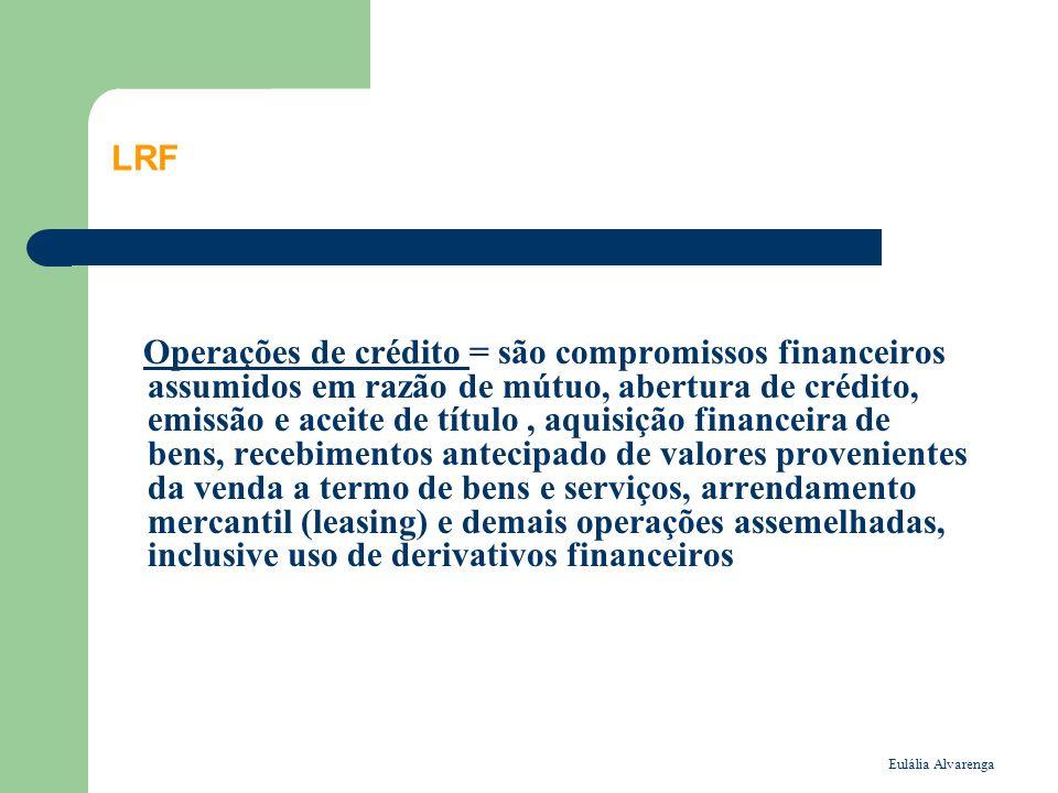 Eulália Alvarenga LRF Operações de crédito = são compromissos financeiros assumidos em razão de mútuo, abertura de crédito, emissão e aceite de título