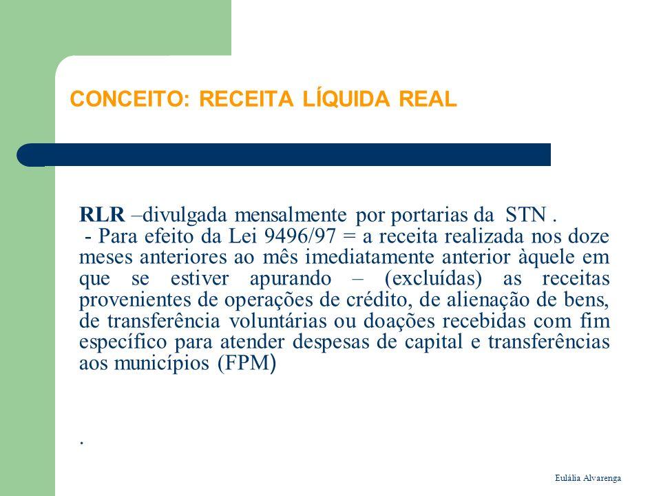 Eulália Alvarenga CONCEITO: RECEITA LÍQUIDA REAL RLR –divulgada mensalmente por portarias da STN. - Para efeito da Lei 9496/97 = a receita realizada n