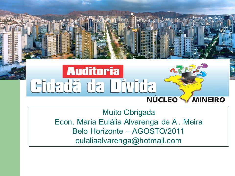 Muito Obrigada Econ. Maria Eulália Alvarenga de A. Meira Belo Horizonte – AGOSTO/2011 eulaliaalvarenga@hotmail.com