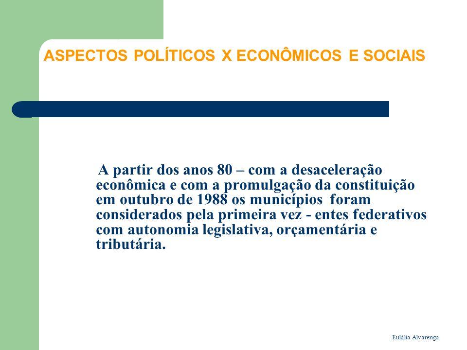 Eulália Alvarenga ASPECTOS POLÍTICOS X ECONÔMICOS E SOCIAIS A partir dos anos 80 – com a desaceleração econômica e com a promulgação da constituição em outubro de 1988 os municípios foram considerados pela primeira vez - entes federativos com autonomia legislativa, orçamentária e tributária.