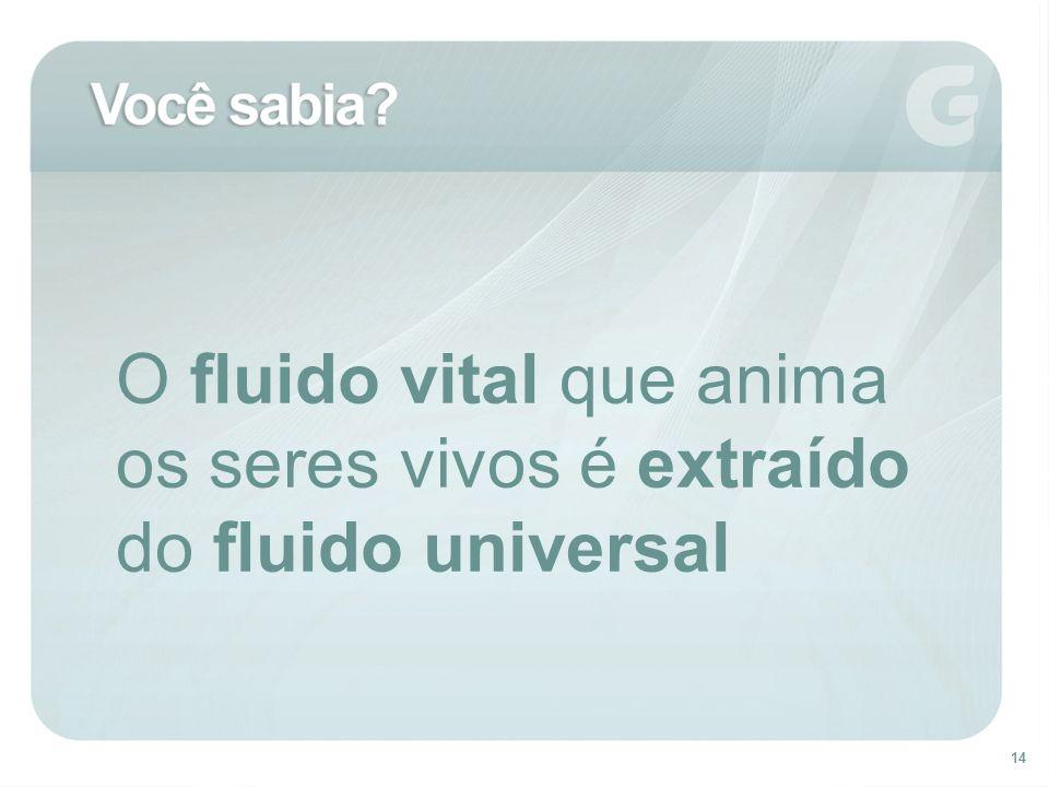 14 O fluido vital que anima os seres vivos é extraído do fluido universal