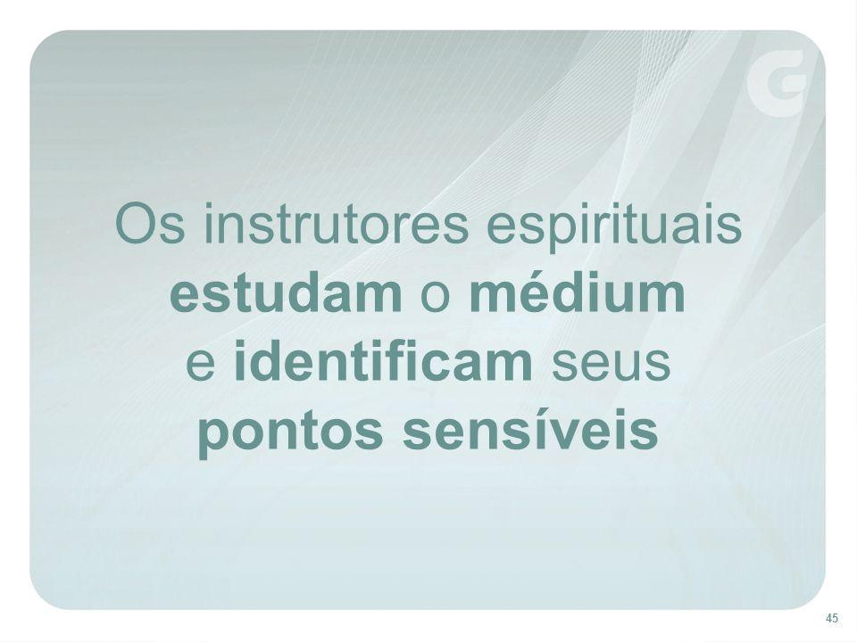 45 Os instrutores espirituais estudam o médium e identificam seus pontos sensíveis