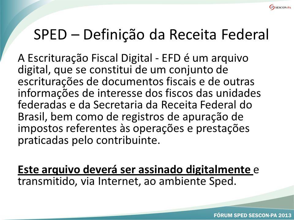 SPED – Definição da Receita Federal A Escrituração Fiscal Digital - EFD é um arquivo digital, que se constitui de um conjunto de escriturações de documentos fiscais e de outras informações de interesse dos fiscos das unidades federadas e da Secretaria da Receita Federal do Brasil, bem como de registros de apuração de impostos referentes às operações e prestações praticadas pelo contribuinte.