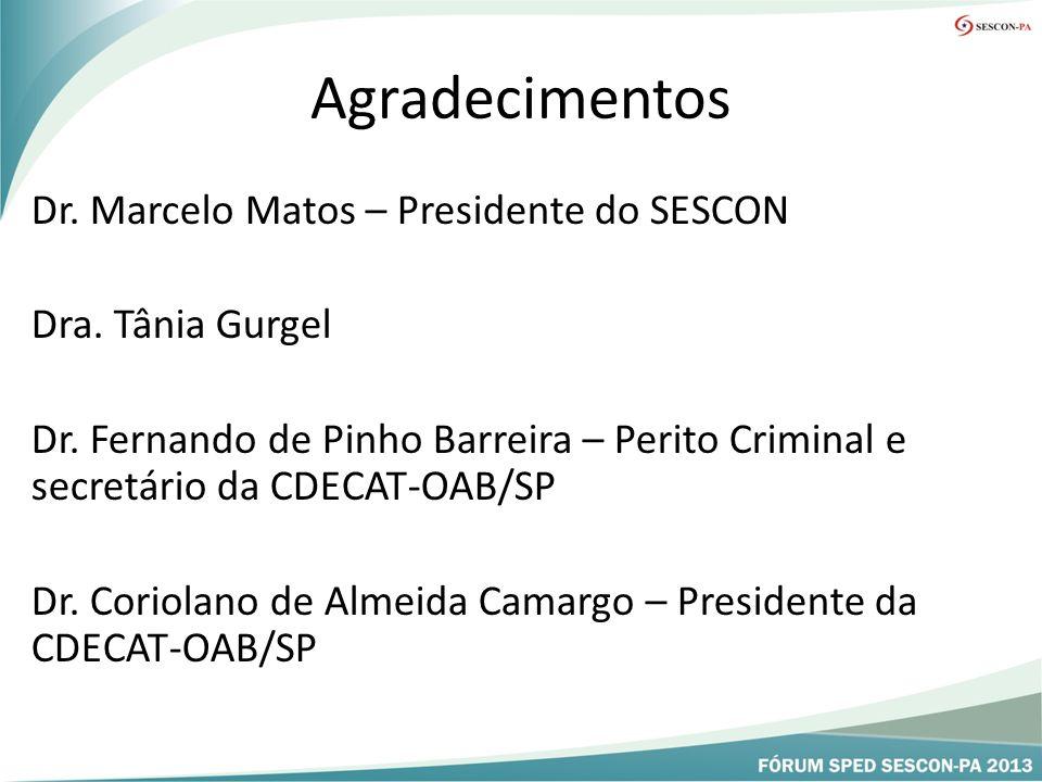 Agradecimentos Dr.Marcelo Matos – Presidente do SESCON Dra.