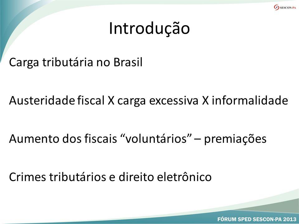 Introdução Carga tributária no Brasil Austeridade fiscal X carga excessiva X informalidade Aumento dos fiscais voluntários – premiações Crimes tributários e direito eletrônico