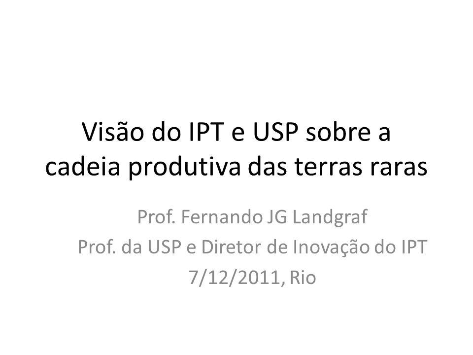 Visão do IPT e USP sobre a cadeia produtiva das terras raras Prof. Fernando JG Landgraf Prof. da USP e Diretor de Inovação do IPT 7/12/2011, Rio