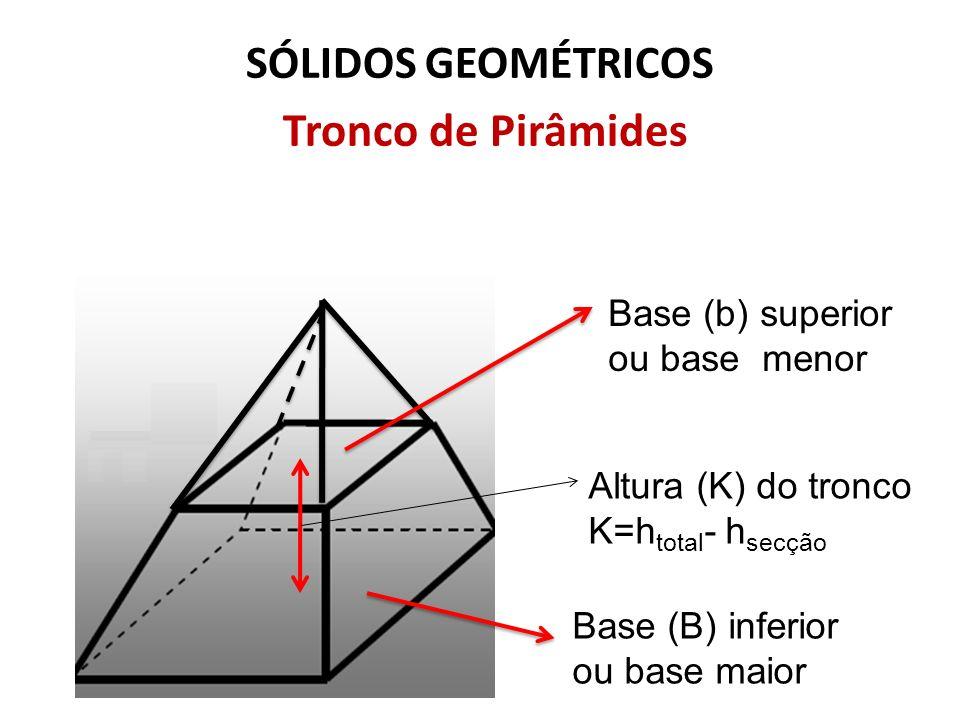 SÓLIDOS GEOMÉTRICOS Tronco de Pirâmides Base (b) superior ou base menor Base (B) inferior ou base maior Altura (K) do tronco K=h total - h secção
