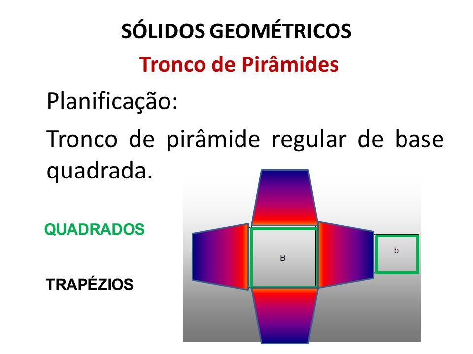 SÓLIDOS GEOMÉTRICOS Tronco de Pirâmides Planificação: Tronco de pirâmide regular de base quadrada. QUADRADOS TRAPÉZIOS