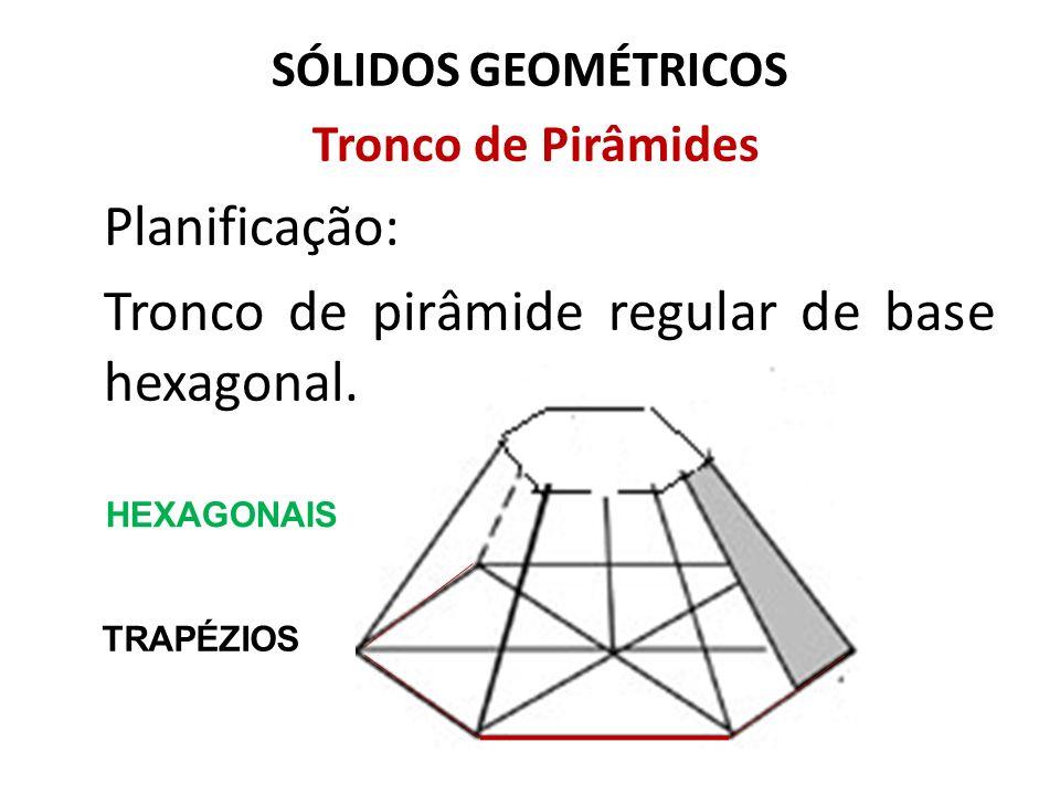 SÓLIDOS GEOMÉTRICOS Tronco de Pirâmides Planificação: Tronco de pirâmide regular de base hexagonal. HEXAGONAIS TRAPÉZIOS