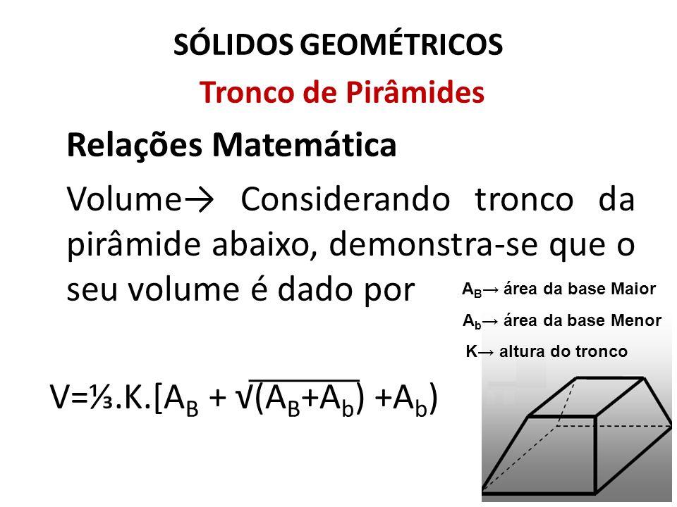 SÓLIDOS GEOMÉTRICOS Tronco de Pirâmides Relações Matemática Volume Considerando tronco da pirâmide abaixo, demonstra-se que o seu volume é dado por V=