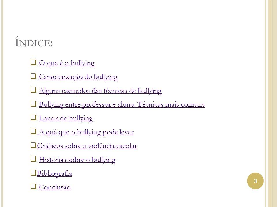 Í NDICE : 3 O que é o bullying Caracterização do bullying Alguns exemplos das técnicas de bullying Bullying entre professor e aluno. Técnicas mais com