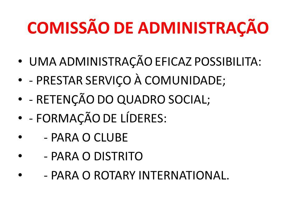 COMISSÃO DE ADMINISTRAÇÃO UMA ADMINISTRAÇÃO EFICAZ POSSIBILITA: - PRESTAR SERVIÇO À COMUNIDADE; - RETENÇÃO DO QUADRO SOCIAL; - FORMAÇÃO DE LÍDERES: -