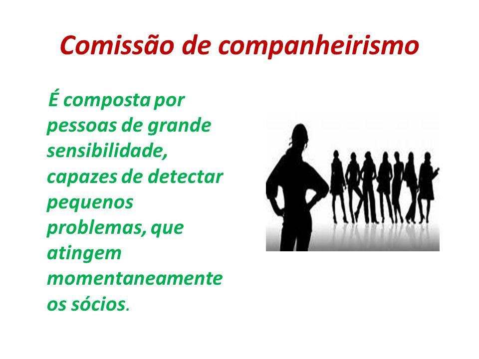 Comissão de companheirismo É composta por pessoas de grande sensibilidade, capazes de detectar pequenos problemas, que atingem momentaneamente os sóci
