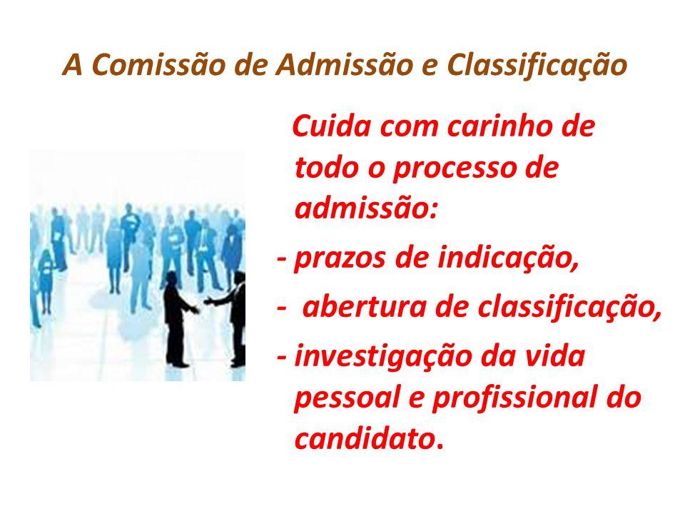 A Comissão de Admissão e Classificação Cuida com carinho de todo o processo de admissão: - prazos de indicação, - abertura de classificação, - investi