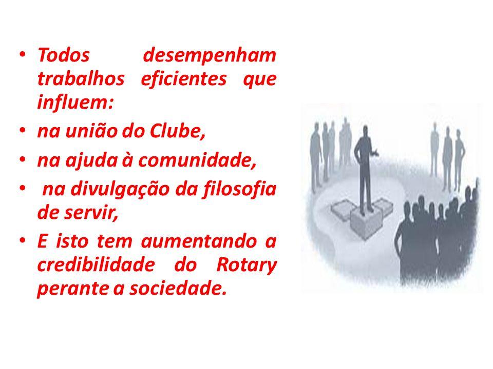 Todos desempenham trabalhos eficientes que influem: na união do Clube, na ajuda à comunidade, na divulgação da filosofia de servir, E isto tem aumenta