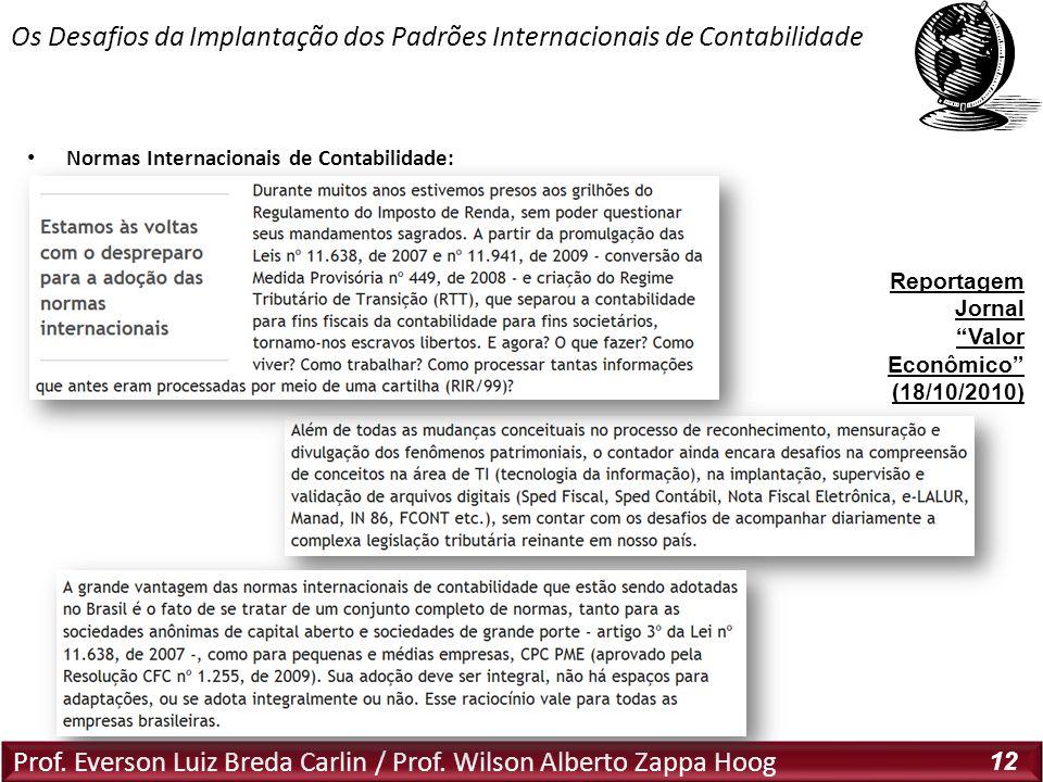 Prof. Everson Luiz Breda Carlin / Prof. Wilson Alberto Zappa Hoog 12 Normas Internacionais de Contabilidade: Os Desafios da Implantação dos Padrões In