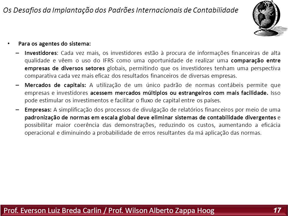 Prof. Everson Luiz Breda Carlin / Prof. Wilson Alberto Zappa Hoog 17 Para os agentes do sistema: – Investidores: Cada vez mais, os investidores estão