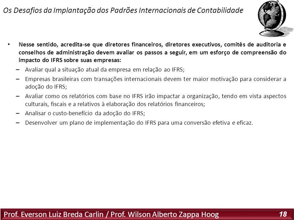 Prof. Everson Luiz Breda Carlin / Prof. Wilson Alberto Zappa Hoog 18 Nesse sentido, acredita-se que diretores financeiros, diretores executivos, comit
