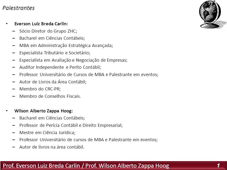 Prof. Everson Luiz Breda Carlin / Prof. Wilson Alberto Zappa Hoog 1 Everson Luiz Breda Carlin: – Sócio Diretor do Grupo ZHC; – Bacharel em Ciências Co