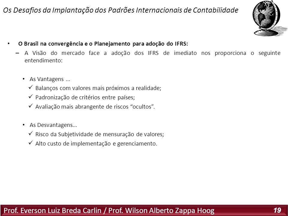 Prof. Everson Luiz Breda Carlin / Prof. Wilson Alberto Zappa Hoog 19 O Brasil na convergência e o Planejamento para adoção do IFRS: – A Visão do merca