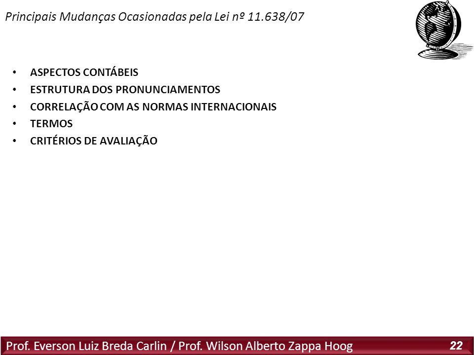 Prof. Everson Luiz Breda Carlin / Prof. Wilson Alberto Zappa Hoog 22 ASPECTOS CONTÁBEIS ESTRUTURA DOS PRONUNCIAMENTOS CORRELAÇÃO COM AS NORMAS INTERNA