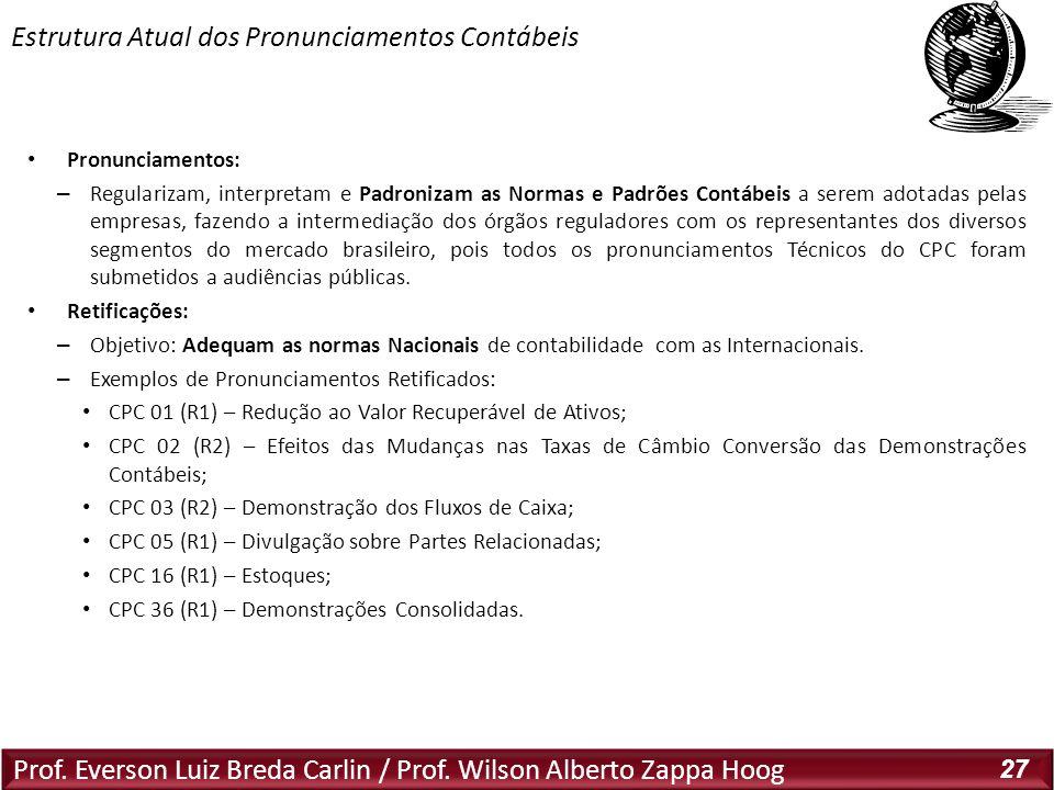 Prof. Everson Luiz Breda Carlin / Prof. Wilson Alberto Zappa Hoog 27 Pronunciamentos: – Regularizam, interpretam e Padronizam as Normas e Padrões Cont