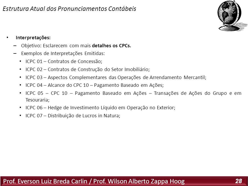 Prof. Everson Luiz Breda Carlin / Prof. Wilson Alberto Zappa Hoog 28 Interpretações: – Objetivo: Esclarecem com mais detalhes os CPCs. – Exemplos de I