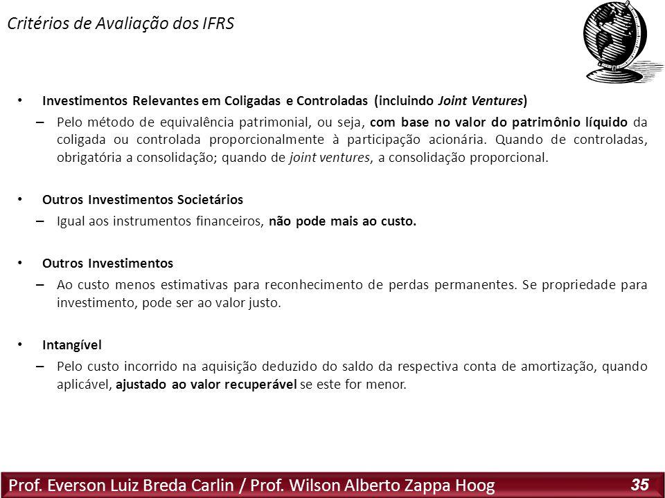 Prof. Everson Luiz Breda Carlin / Prof. Wilson Alberto Zappa Hoog 35 Investimentos Relevantes em Coligadas e Controladas (incluindo Joint Ventures) –