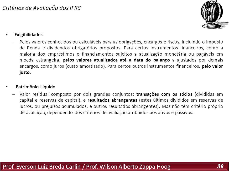 Prof. Everson Luiz Breda Carlin / Prof. Wilson Alberto Zappa Hoog 36 Exigibilidades – Pelos valores conhecidos ou calculáveis para as obrigações, enca