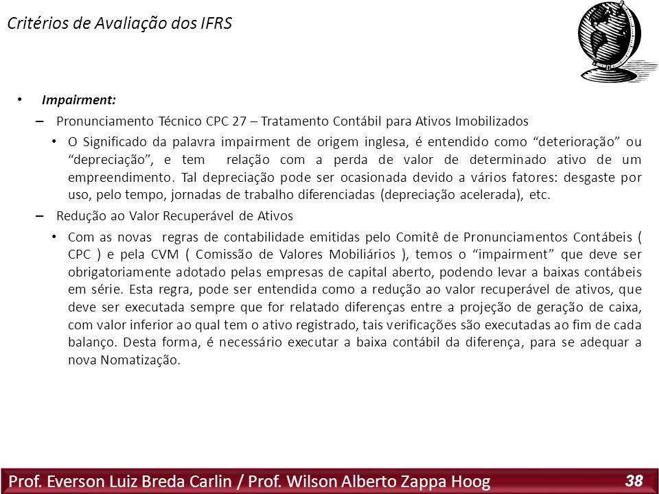 Prof. Everson Luiz Breda Carlin / Prof. Wilson Alberto Zappa Hoog 38 Impairment: – Pronunciamento Técnico CPC 27 – Tratamento Contábil para Ativos Imo