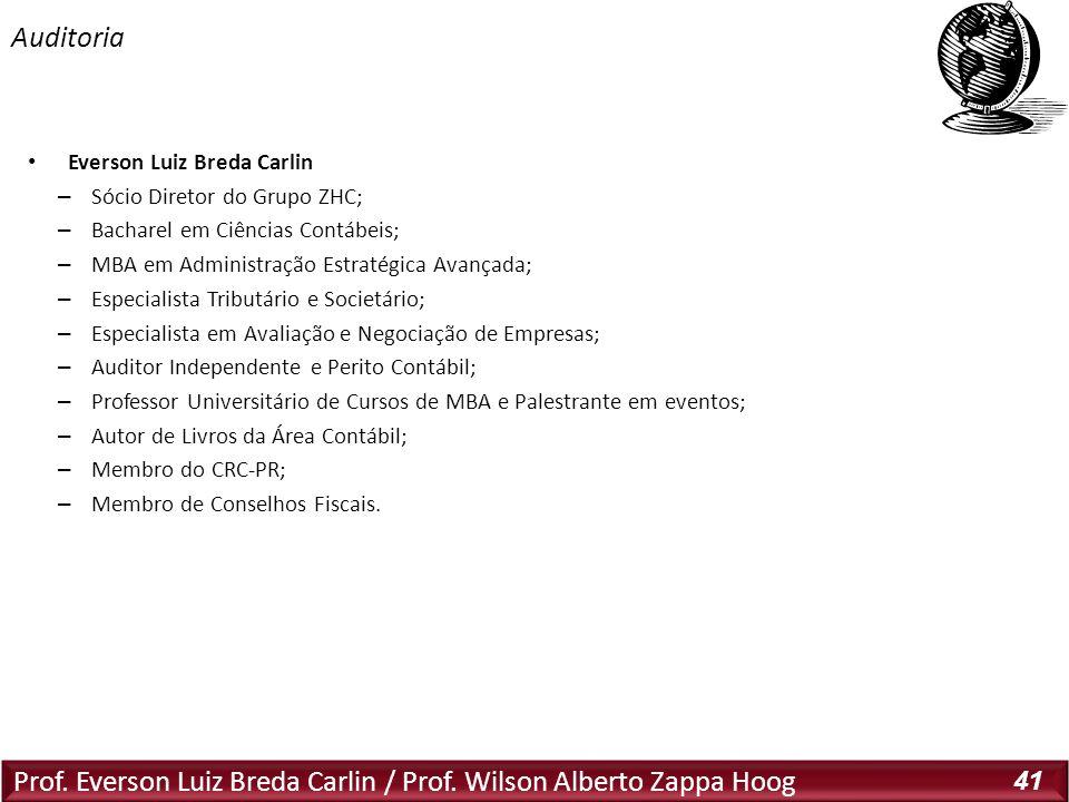 Prof. Everson Luiz Breda Carlin / Prof. Wilson Alberto Zappa Hoog 41 Everson Luiz Breda Carlin – Sócio Diretor do Grupo ZHC; – Bacharel em Ciências Co