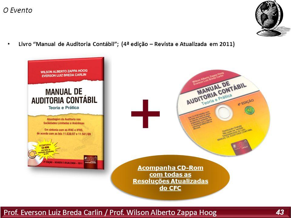 Prof. Everson Luiz Breda Carlin / Prof. Wilson Alberto Zappa Hoog 43 Livro Manual de Auditoria Contábil; (4ª edição – Revista e Atualizada em 2011) O
