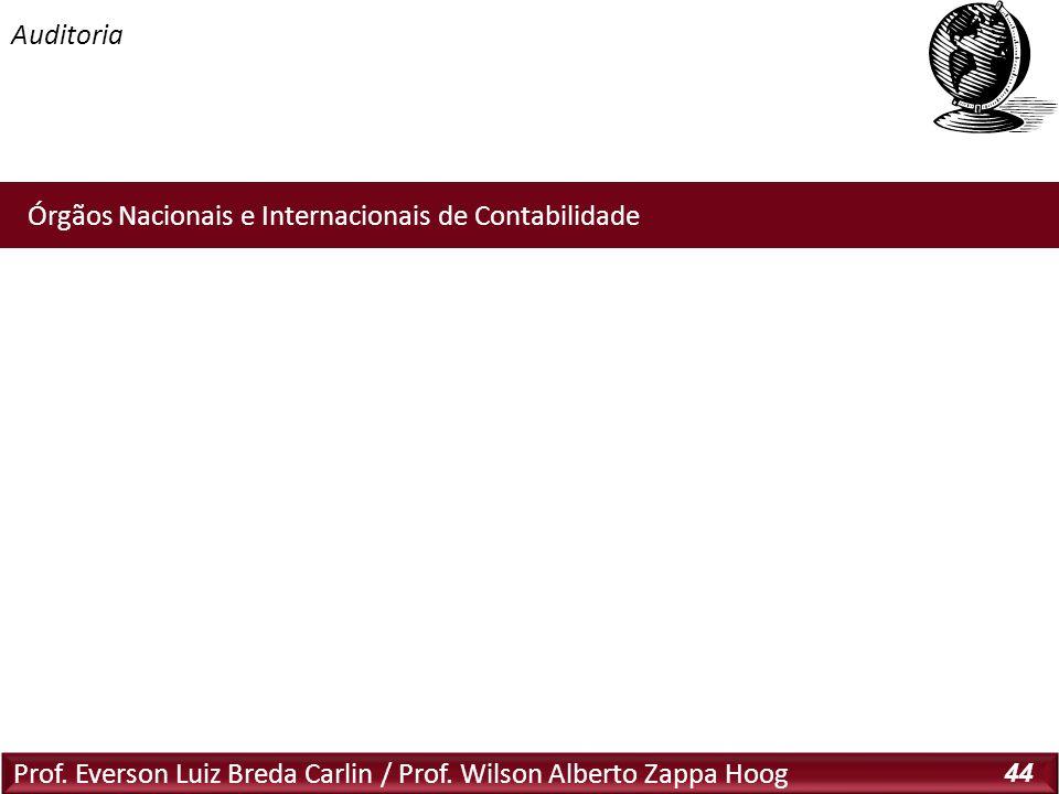 Auditoria Prof. Everson Luiz Breda Carlin / Prof. Wilson Alberto Zappa Hoog 44 Órgãos Nacionais e Internacionais de Contabilidade