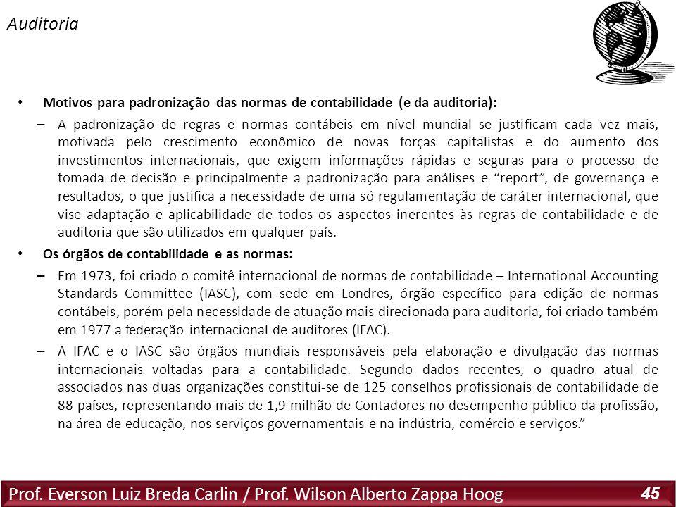 Prof. Everson Luiz Breda Carlin / Prof. Wilson Alberto Zappa Hoog 45 Motivos para padronização das normas de contabilidade (e da auditoria): – A padro