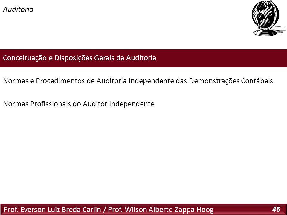 Prof. Everson Luiz Breda Carlin / Prof. Wilson Alberto Zappa Hoog 46 Conceituação e Disposições Gerais da Auditoria Normas e Procedimentos de Auditori