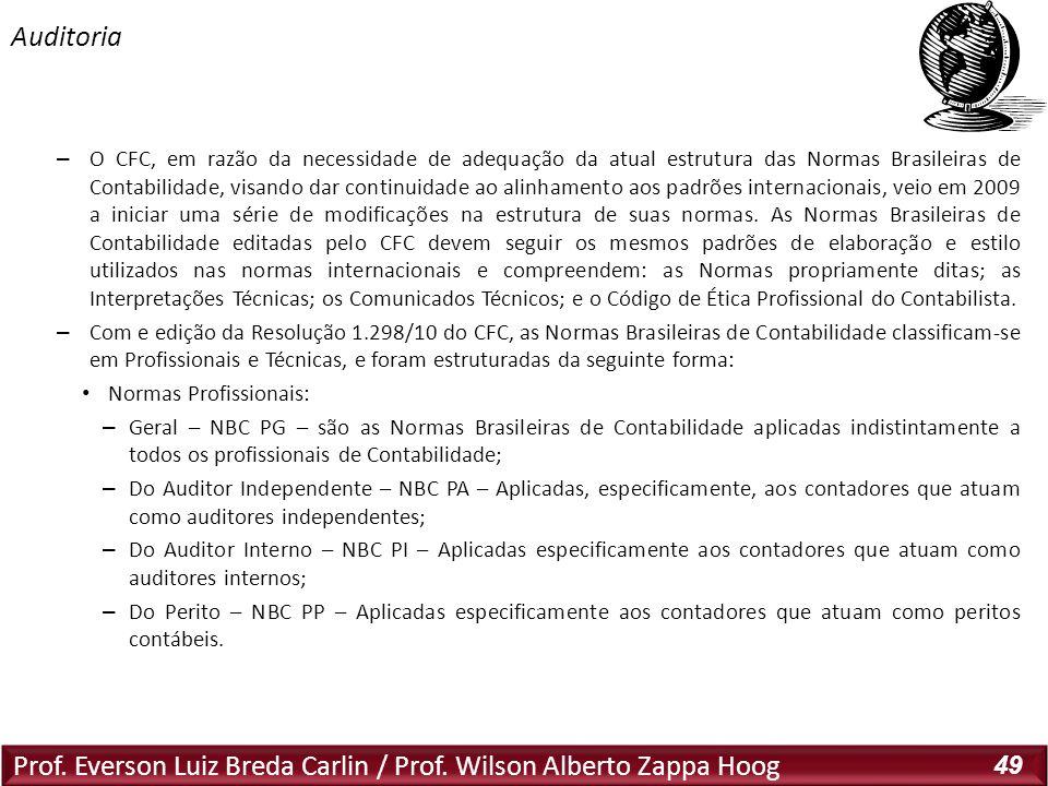 Prof. Everson Luiz Breda Carlin / Prof. Wilson Alberto Zappa Hoog 49 – O CFC, em razão da necessidade de adequação da atual estrutura das Normas Brasi