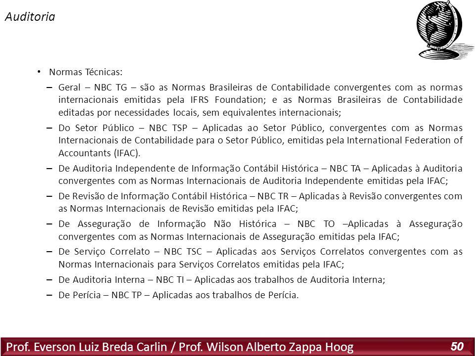Prof. Everson Luiz Breda Carlin / Prof. Wilson Alberto Zappa Hoog 50 Normas Técnicas: – Geral – NBC TG – são as Normas Brasileiras de Contabilidade co