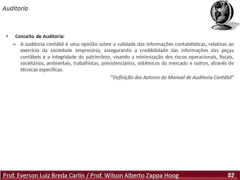 Prof. Everson Luiz Breda Carlin / Prof. Wilson Alberto Zappa Hoog 52 Conceito de Auditoria: – A auditoria contábil é uma opinião sobre a validade das
